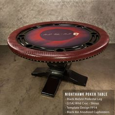 This is a great example of how you can take the classic Nighhawk Poker Table and make it sassy with exotic vinyl. This features Wild Croc in Shiraz. www.bbopokertables.com/NightHawk.html