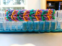 I LOVE the vibrant colors in this brand new pattern! Brand New Pattern Delta Wing Bracelet by RainbowLoomLover on Etsy, $4.00