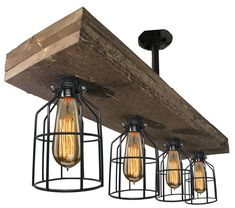 Farmhouse Lighting Triple Wood Beam Vintage Decor Chandelier Light - Great in Kitchen Bar Industrial Island Billiard Foyer and Edison Bulb. Wooden Reclaimed Rustic Four Light With Cages Farmhouse Kitchen Light Fixtures, Industrial Farmhouse Kitchen, Farmhouse Dining Room Lighting, Rustic Bathroom Lighting, Farmhouse Kitchen Island, Vintage Industrial Lighting, Rustic Lighting, Farmhouse Style, Farmhouse Decor