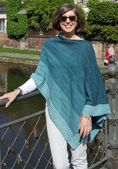 Free Knitting Pattern for Starboard Tack Poncho - Poncho knit flat and seamed and finished with tailored rib hems, modified three-needle bind off, and the I cord neck edge for a polished look. Use gradient mini skein sets for a gradient color. Poncho Knitting Patterns, Shawl Patterns, Loom Knitting, Knitting Stitches, Free Knitting, Knit Cape Pattern, Knitted Cape, Knitted Shawls, I Cord