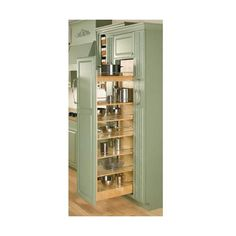 Rev-A-Shelf 448-TP58-11-1 448-TP Series 11 Inch Wide Tall Cabinet Pull ($461) ❤ liked on Polyvore featuring home, home improvement, storage & organization, pull out pantry organizers, pull out systems, tall cabinet organizers and tural wood