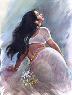 x___edson ecks__ Maruthi Indian Women Painting, Indian Art Paintings, Sexy Painting, Woman Painting, Indian Drawing, India Art, Beauty Art, Pictures To Draw, Beautiful Paintings