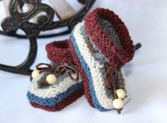 Baby-boy booties Knitted booties 3-6m baby booties by LiliasDesign