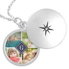 Navy Monogram Photo Collage Locket Necklace #navy #monogram #photo #collage #locket #necklace