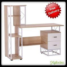 Home Office Desk Computer Workstation w. Drawers Storage Shelves Home Furniture