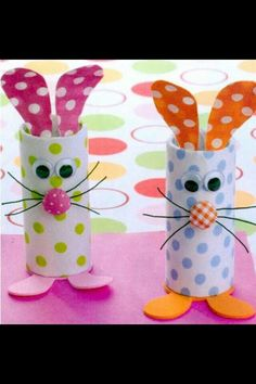 Easter bunnies from toilet paper tubes