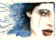 Blue velvet - Watercolor Paintings by Rosaria Battiloro Learn Watercolor Painting, Watercolor Portraits, Watercolor And Ink, Body Painting, Abstract Watercolor, Top Paintings, Indian Paintings, Portrait Paintings, Acrylic Paintings