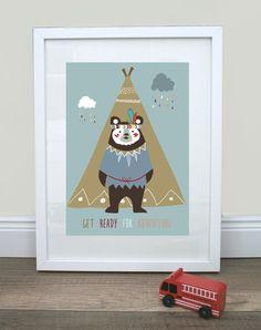 """Kunstdruck / Bild """"Indianer"""" von Mimirella auf DaWanda.com"""