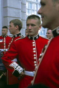 Coldstream Guards -- You can tell them apart from the Irish, Welsh, and Grenadier Guards by their buttons, which are arranged in pairs.