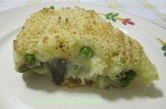 Torta di patate funghi e piselli - Ricetta vegana