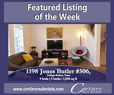 1198 Jones Butler #506 College Station Texas, This 4 bedroom 5 bathroom apartment is situated in a gated community on the A&M bus route. The community offers a pool, hot tubs, basketball court, club house with private gym, movie theatre, tanning beds, study/game area and even more! Don't forget about the lake and fountain view! www.cortiersrealestate.com    Cortiers Real Estate   College Station Real Estate