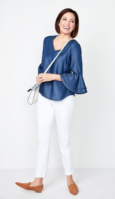 Ruffle bell sleeves and chambray! This blouse is a must have for spring! Pair with white jeans for a fresh look. Chambray, Must Haves, White Jeans, Bell Sleeves, Ruffle Blouse, Denim, Fabric, Pants, Fresh