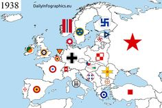 The European air force roundels from before the Second World War.  Notice how both Finland and Latvia used the swastika, as before Hitler and the nazis ruined it, it was considered a good luck charm, specially among aviators: