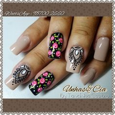 Publicación de Instagram de By Tancinha Castro • 19 de Ago de 2016 a las 11:55 UTC La Nails, Manicure And Pedicure, Mani Pedi, Colorful Nail Designs, Nail Art Designs, Cute Nails, Pretty Nails, Nail Art Printer, Unicorn Nails