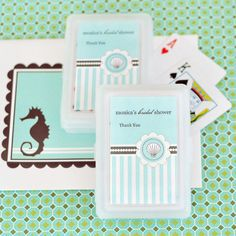 24 Sets Beach Ocean Personalized Playing Cards Wedding Bridal Shower Favors