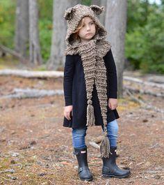 Ravelry: Levan Lynx Hood pattern by Heidi May Crochet Fall, Knit Crochet, Winter Season Clothes, Heidi May, Velvet Acorn, Hood Pattern, Lion Brand Wool Ease, Cool Kids Clothes, Super Bulky Yarn