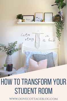 How to transform your student dorm room in college or university halls using soft furnishings, accessories, artificial plants and stylish interiors. Clever storage ideas and wats to personalise a small, plain single rented bedroom. You can create a beautiful home from home while you're away at college! #studentroom #collegedorm #collegeroom #dormdecor #dormroom #dormroomideas #dormroomdecoratingideas #dorm #universityroom #studentbedroom #houseplants #houseplantclub #scandinavianstyle