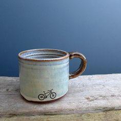 Blue Mountain Bike Mug with Brown Handle by JuliaSmithCeramics