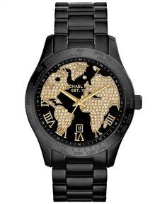 Michael Kors Womens Layton Black Ion-Plated Stainless Steel Bracelet Watch 44mm MK6091 - Michael Kors - Jewelry Watches - Macys