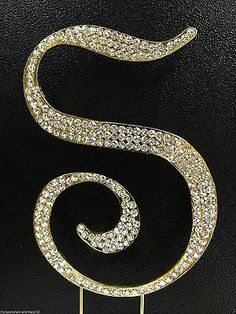 Gold Letter Initial S Birthday Crystal Rhinestone Cake Topper S Party Monogram