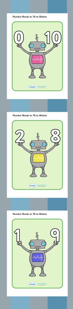 Number Bonds to 10 Display Posters (Robots)http://content.twinkl.co.uk/resource/a7/36/T-N-606-Number-Bonds-To-10-Posters-Robots_ver_1.pdf?__token__=exp=1499260502~acl=%2Fresource%2Fa7%2F36%2FT-N-606-Number-Bonds-To-10-Posters-Robots_ver_1.pdf%2A~hmac=c272a7963029a3c312b1b00cd9fd42eabb25785a33b7a421da473ab1e9a7ce49: Mathe, Roboter, verliebte Zahlen, bis 10 ergänzen, Poster, Bildkarten, Bild Karten, Vorschule, Klasse 1, Kindergarten