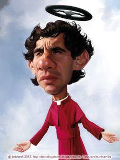 """Caricature d'Ayrton Senna (pour le livre """"Légendes du Sport Automobile, Vents d'Ouest 2013)"""