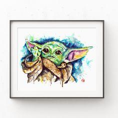 Baby Yoda Watercolor Art Print, Star Wars Fan Art, Yoda Painting, Kids room Wall Decor, Star Wars Nursery, Mandalorian Star Wars Fan Art, Yoda Images, Star Wars Nursery, Animal Art Prints, Cow Painting, Cow Art, Mandalorian, Photo Art, Watercolor Paintings