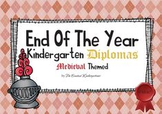 Medieval themed graduation diplomas for children in kindergarten with knights, knight armors and knight banners!  I also have an end of the year Superheroes themed pack! You can check it out here :   End of The Year Super Superheroes Bundle for Kindergarten!