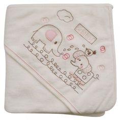 473105 Bebek Banyo Havlusu Filli Nakışlı Pembe