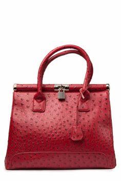Milan - Ostrich Red Handbag