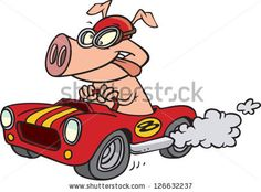 Vector illustration of pig driving sports car by Ron Leishman, via Shutterstock