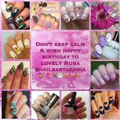 Hello lovelies!!   Happy Birthday to my beautiful friend Ruba @nailsartarabia!! Faro @my_medium_nails organised this birthday collage recreating your gorgeous designs!!Hope you like it!! Here are the other girls in the collage: @mitty_burns @my_sisters_re