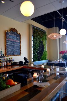 Pair of living walls inside a restaurant in St. Katie's Pizza and Pasta. Indoor Plants, Living Walls, Restaurant, Green Walls, St Louis, Pizza, Bar, Home Decor, Inside Plants