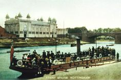 Trent Bridge and the Midlands Industrial Exhibition, Nottingham, 1903-04. The Midlands Industrial Exhibition stood on the banks of the River Trent for little more than 400 days, before being destroyed by fire. Along with the Industrial Hall, was the Ivory Palace displaying goods from around the world and a funfair with Canadian Water Chute, American roller-coaster and the Fairy River. An electrical fault in the Fairy River sparked the blaze that engulfed the entire exhibition.