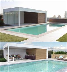 Alu / Wood Design Poolhouse