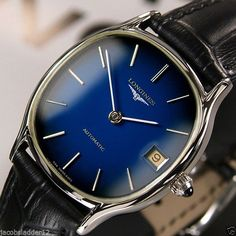 LONGINES AUTOMATIC DATE BLUE DIAL RARE SWISS MENS VINTAGE USED DRESS WATCH #Longines #LuxuryDressStyles