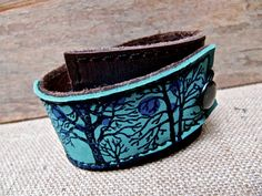 Leather Cuff Bracelet Wrap, Tree Silhouette Print in Brown & Turquoise, Adjustable Size,