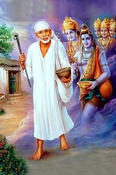 """From man comes a series of spiritual rays whose quality is delight Bliss. The idea of """"search"""" is an error . Everyone already knows the Truth. Sai Baba Pictures, Sai Baba Photos, God Pictures, Good Morning Sunday Pictures, Shirdi Sai Baba Wallpapers, Mother Kali, Sai Baba Hd Wallpaper, Shivaji Maharaj Hd Wallpaper, Guru Pics"""