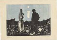 Two Human Beings.  The Lonely Ones, 1899-1917.  Woodcut.