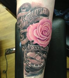 My custom tattoo for my daughter. Her birthdate is in Roman numerals, and her birth time is on the pocketwatch.