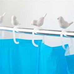 Ringe til badeforhæng - 12 stk - fugleflok