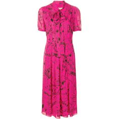 Burberry doodle print tie neck dress ($1,260) ❤ liked on Polyvore featuring dresses, neck ties, pink embellished dress, embellished dress, neck tie dress and embelished dress