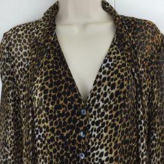 Chicos 0 Silk Shirt Animal Print Black Brown Button Sheer Chiffon Scarf Top S  #Chicos #ButtonDownShirt #Career