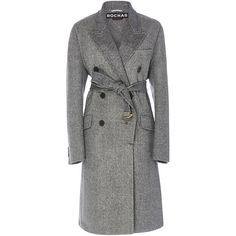 Rochas Double Breasted Long Wool Coat (3,446,780 KRW) ❤ liked on Polyvore featuring outerwear, coats, double breasted woolen coat, sash belt, double breasted long coat, wool coat and rochas