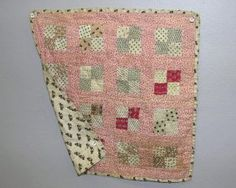pink doll quilt, one of FOUR ANTIQUE DOLL QUILTS. Two pink and cream Four P : Lot 99, Live Auctioneers