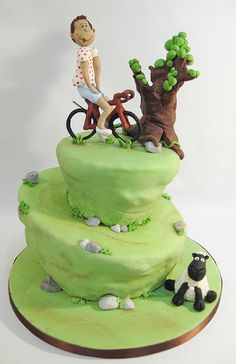A chocolate mud cake with polymer clay topper and sugarpaste sheep. Loved all the details of this cake. Bicycle Cake, Bike Cakes, Mountain Bike Cake, Mountain Biking, Jason King, Boat Cake, Chocolate Mud Cake, Sugar Craft, Novelty Cakes