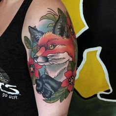 [style] neo traditional fox done by Jon Overton at Studio XIII in Cocoa Beach, FL Bff Tattoos, Rib Tattoos For Guys, Music Tattoos, Trendy Tattoos, Small Tattoos, Sleeve Tattoos, Tatoos, Photomontage, Side Back Tattoos