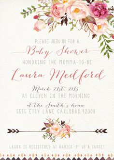 Girl Baby Shower Invitation Watercolor Flower by KirraReynaDesigns
