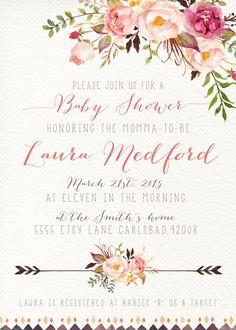 Niña bebé ducha invitación flores acuarela por KirraReynaDesigns