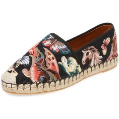 Valentino Garavani Women's Embroidered Animal Espadrille - Size 35 ($679) ❤ liked on Polyvore featuring shoes, sandals, multi, flat shoes, espadrilles shoes, valentino sandals, embroidered shoes and animal shoes